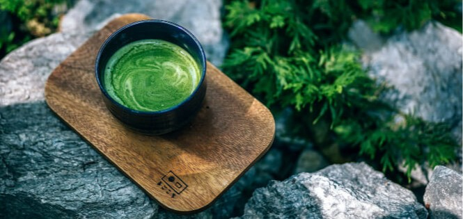 Photo of a matcha latte in a cup.